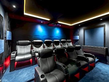 Cinema room with mood lighting which can be red... or you can chose another colour to match the occasion.